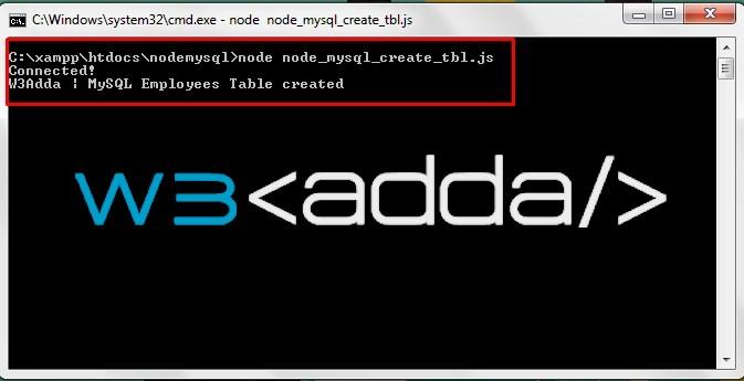 Node.js MySql Create Table 1
