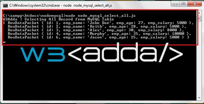 Node.js MySQL Select Records 1