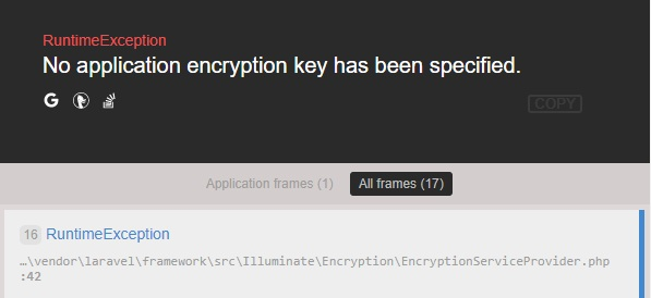 how to fix laravel RuntimeException No application encryption key has been specified